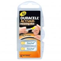 Duracell Easy Tab Activair Hearing Aid, ZA10, DA10 N6, PR70, AC10 tartós Levegő-cink hallókészülék elem, behelyezést segítő füllel