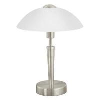EGLO 85104 SOLO asztali lámpa 1×60W E14 matt króm/fehér búrával,érintőkapcsolós,35 cm magas