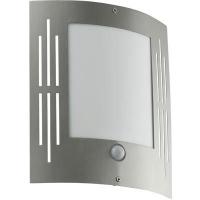 EGLO 88144 CITY kültéri fali lámpa szenzoros 1×15W E27 inox/fehér műanyag 24×27cm
