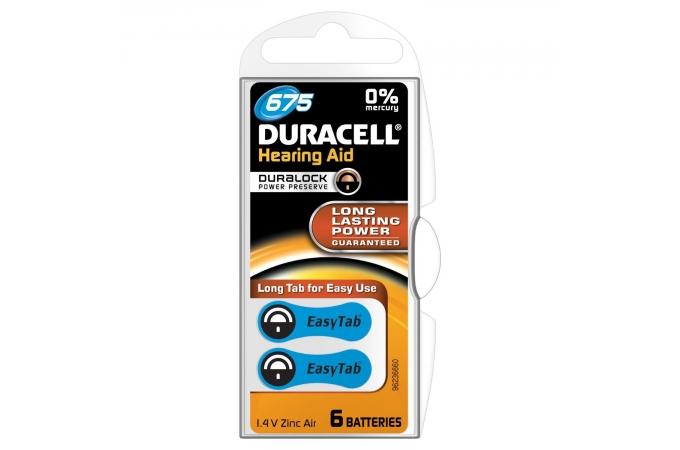 Duracell Easy Tab Activair Hearing Aid, ZA675, DA675N6, PR44, AC675 tartós Levegő-cink hallókészülék elem, behelyezést segítő füllel
