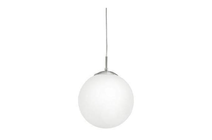 EGLO 85262 RONDO függeszték 1×60W E27 matt króm/fehér opál gömb búra 25 cm átmérőjű